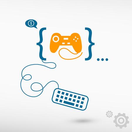 Joystick icon and flat design elements. Design concept icons for application development, web design, creative process