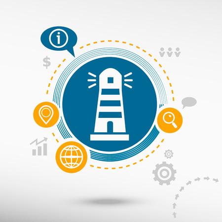 illuminative: Lighthouse icon and creative design elements. Flat design concept Illustration