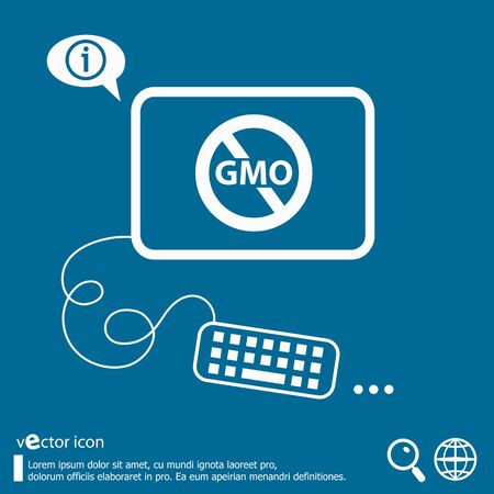 mutation: Without Genetically modified food symbol and flat design elements. Line icons for application development, web page coding and programming, creative process, social media, print.