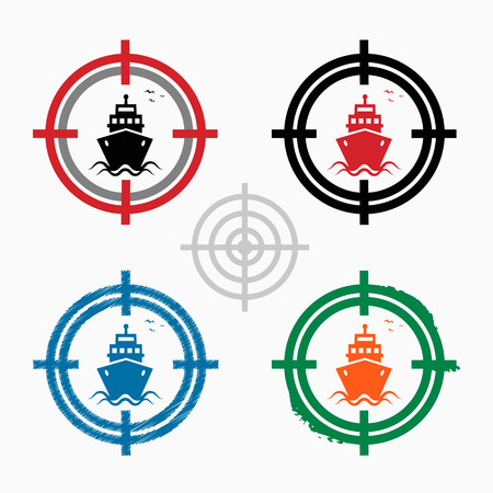 Ship icon on target icons background. Crosshair icon. Vector illustration. 矢量图像