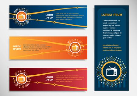 Retro televisor on modern abstract flyer, banner, brochure design template. Collection for Business