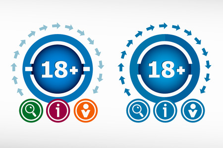 18 years old: 18 plus years old sign. Adults content icon and creative design elements. Flat design concept.
