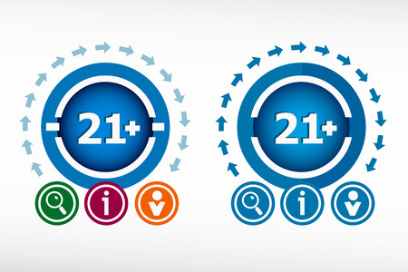 one year old: 21 plus years old sign. Adults content icon and creative design elements. Flat design concept. Vectores