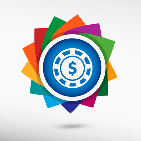 wheel of fortune: Casino gambling chips icon color icon, vector illustration. Flat design style Illustration