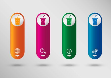 carbonated beverage: Soft drink icon on vertical infographic design template, can be used for workflow layout, web design. Illustration