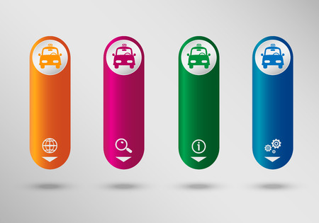 Taxi Icon on vertical infographic design template, can be used for workflow layout, web design.