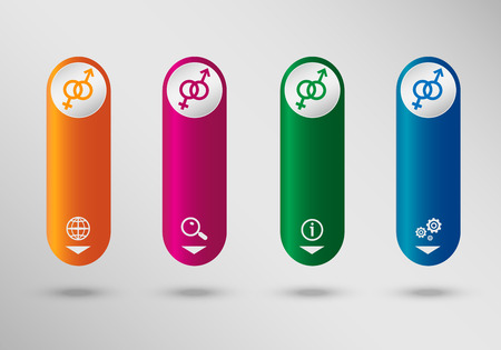 Male and female icon on vertical infographic design template, can be used for workflow layout, web design.