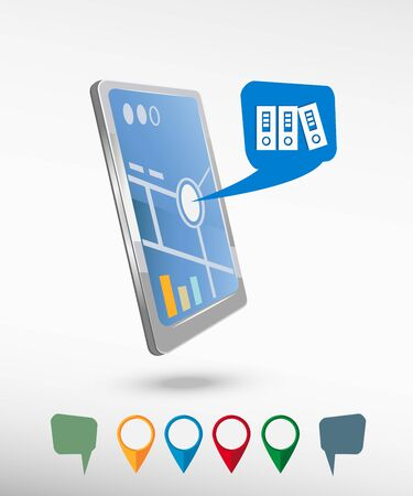 documentation: Binders vector icon and perspective smartphone vector realistic. Set of bright map pointers for printing, website, presentation element and application mockup.