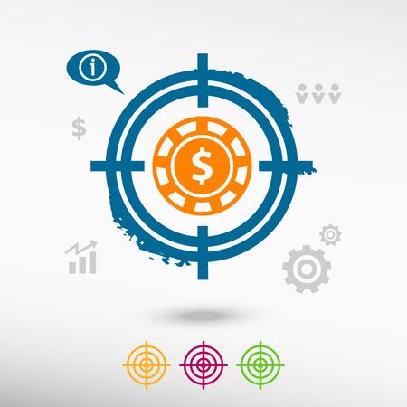 gambling chips: Casino gambling chips icon on target icons background. Flat illustration. Illustration