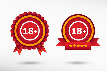 alert ribbon: 18 plus years old sign. Adults content icon stylish quality guarantee badges. Colorful Promotional Labels