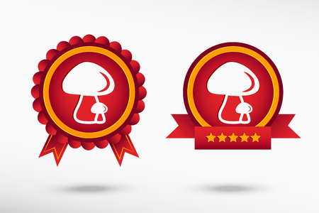 quality guarantee: Mushrooms icon stylish quality guarantee badges. Colorful Promotional Labels