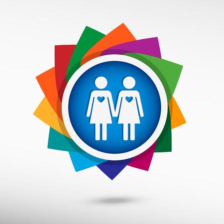 nude lesbian: Lesbian color icon, vector illustration. Flat design style