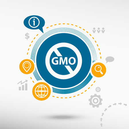 modified: Without Genetically modified food symbol and creative design elements. Flat design concept