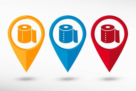 fecal: Toilet paper icon map pointer, vector illustration. Flat design style