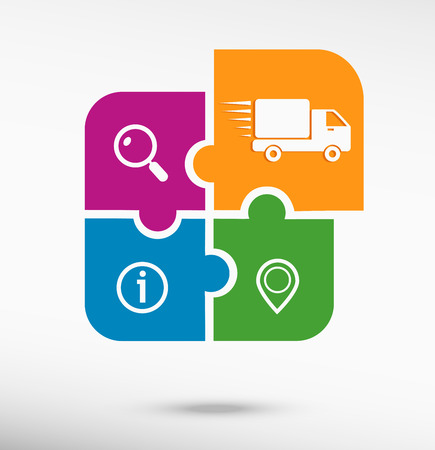 Fast delivery service icon on colorful jigsaw puzzle. Flat style