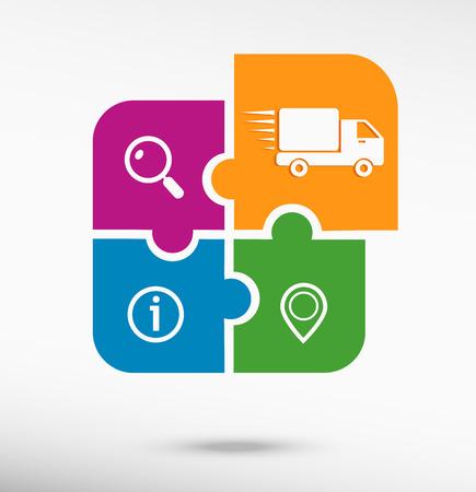 Snelle levering service pictogram op kleurrijke puzzel. vlakke stijl Stock Illustratie