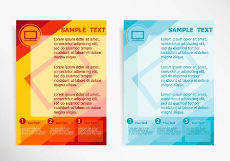 Monitor symbol on abstract vector modern flyer, brochure vector template. Illustration