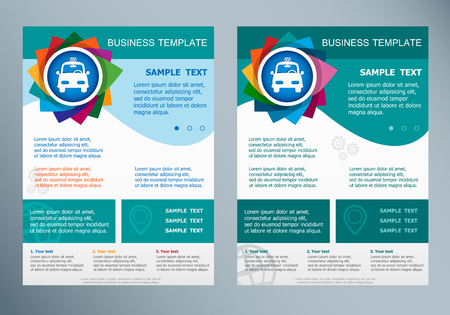 excursions: Taxi Icon  on abstract vector flyer. Brochure design template.