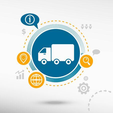 Truck icon and creative design elements. Flat design concept