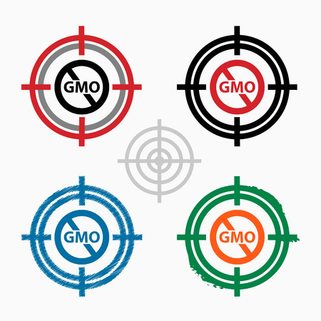 modified: Without Genetically modified food symbol on target icons background. Crosshair icon. Vector illustration.