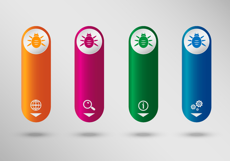 acarid: Bug icon on vertical infographic design template, can be used for workflow layout, web design.