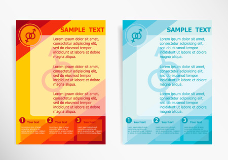 marital: Male and female symbol on abstract vector modern flyer, brochure vector template. Illustration