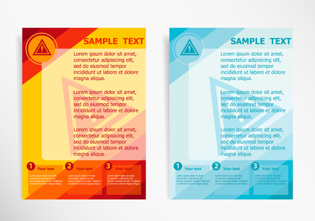 publisher: Warning.  Attention caution sign on abstract vector modern flyer, brochure vector template.