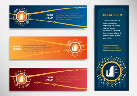 smoothing: Iron icon on modern abstract flyer, banner, brochure design template. Collection for Business