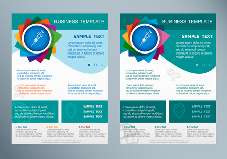 page layout: Syringe icon on abstract flyer. Brochure design template.