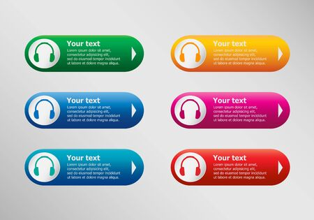 Headphone and infographic design template, business concept.