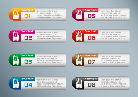 Fried potatoes icon and marketing icons on Infographic design template