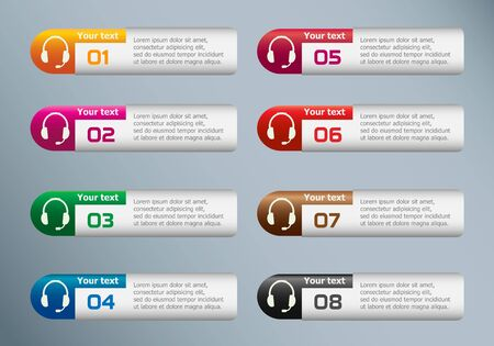 earpieces: Live help sign and marketing icons on Infographic design template.