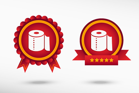 fecal: Toilet paper icon stylish quality guarantee badges. Colorful Promotional Labels Illustration