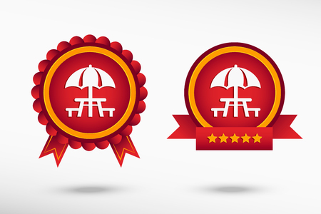 outdoor event: Camping and picnic table icon stylish quality guarantee badges. Colorful Promotional Labels
