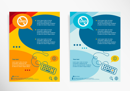 genetically: Without Genetically modified food symbol on chat speech bubbles. Modern flyer, brochure vector template.