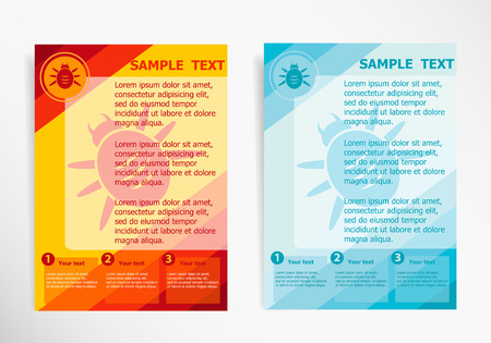 Bug icon symbol on abstract vector modern flyer, brochure vector template.  イラスト・ベクター素材