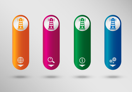 illuminative: Lighthouse icon on vertical infographic design template, can be used for workflow layout, web design