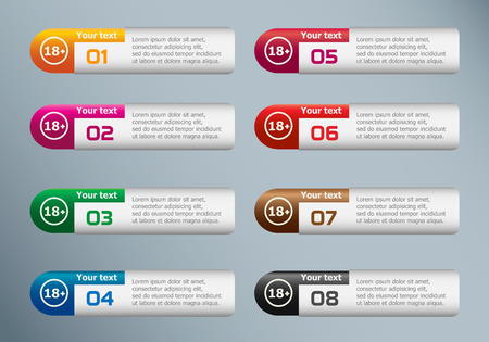 18 years old: 18 plus years old sign. Adults content icon and marketing icons on Infographic design template