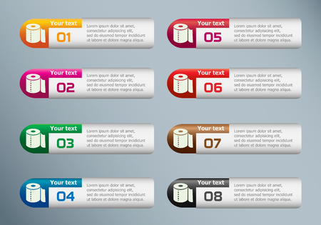 fecal: Toilet paper icon and marketing icons on Infographic design template