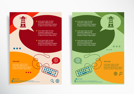illuminative: Lighthouse icon on abstract brochure design. Set of corporate business stationery templates. Modern back and front flyer backgrounds. Illustration