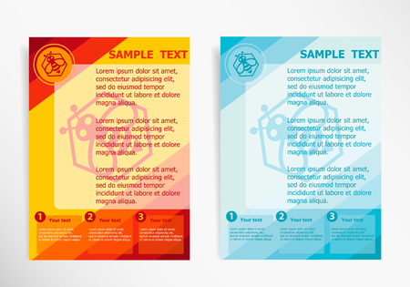 mead: Bee in the hexagon symbol on abstract vector modern flyer, brochure vector template.