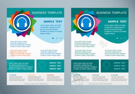 Headphone symbol on abstract vector flyer. Brochure design template. Illustration