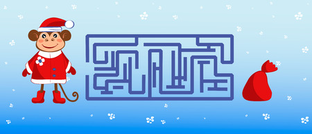 get dressed: Maze with a monkey dressed as Santa Claus. Help the monkey get to the bag with gifts.