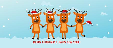 christmas greeting card: Four funny Christmas reindeer. Christmas greeting card.