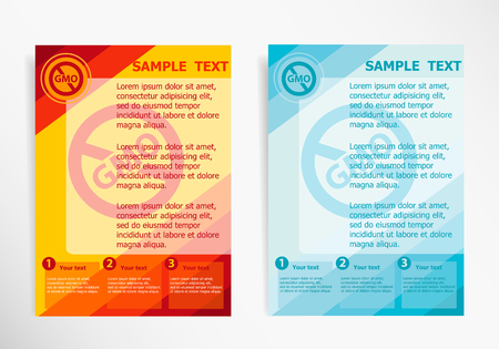 modified: Without Genetically modified food symbol on abstract vector modern flyer, brochure vector template.