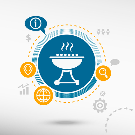 backyard work: Barbecue grill and creative design elements. Flat design concept