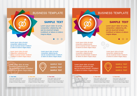 marital: Male and female symbol on abstract vector brochure template. Flyer layout. Flat style.