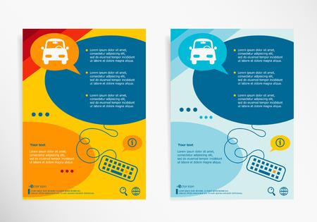public folder: Car symbol on chat speech bubbles. Modern flyer, brochure vector template