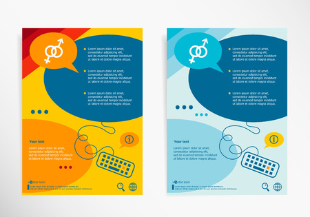 womanhood: Male and female symbol on chat speech bubbles. Modern flyer, brochure vector template