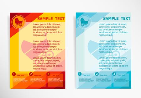 perambulator: Baby buggy symbol on abstract vector modern flyer, brochure vector template.
